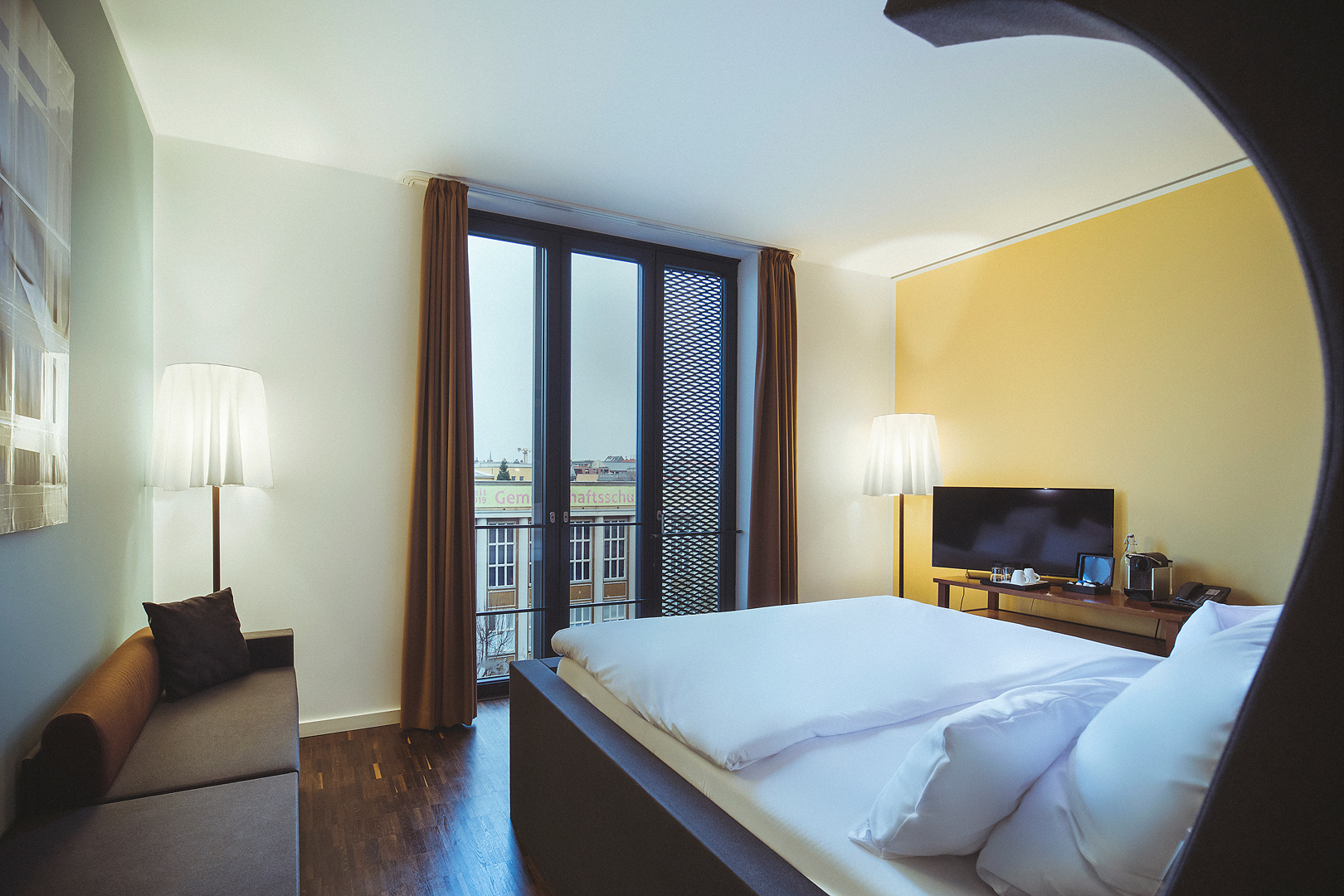 Large Room with the view to the window from bed